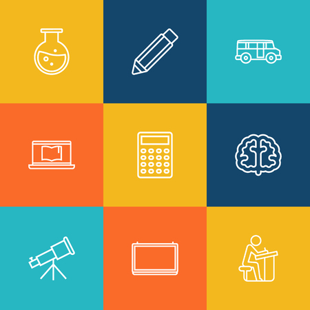 Set Of 9 Science Outline Icons Set.Collection Of Test Tube, Calculator, Bus And Other Elements. Illustration