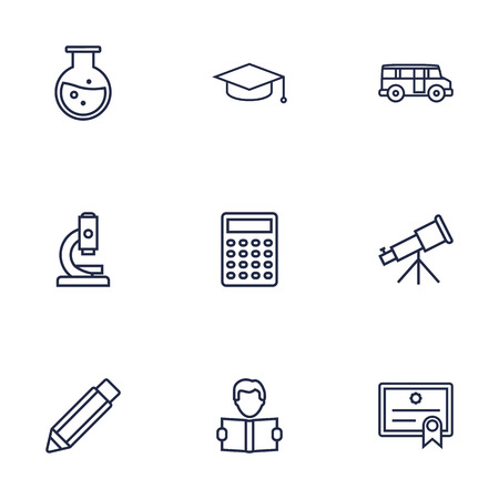 Set Of 9 Studies Outline Icons Set.Collection Of Bus, Test Tube, Telescope And Other Elements.