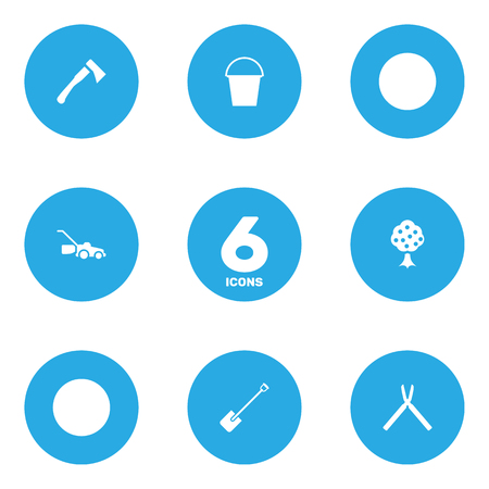 Set Of 6 Horticulture Icons Set.Collection Of Axe, Garden, Scissors And Other Elements. Illustration