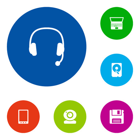 palmtop: Set Of 6 Laptop Icons Set.Collection Of Headset, Diskette, Palmtop And Other Elements. Illustration