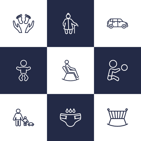 child protection: Set Of 9 People Outline Icons Set.Collection Of Grangmother, Crib, Care And Other Elements. Illustration