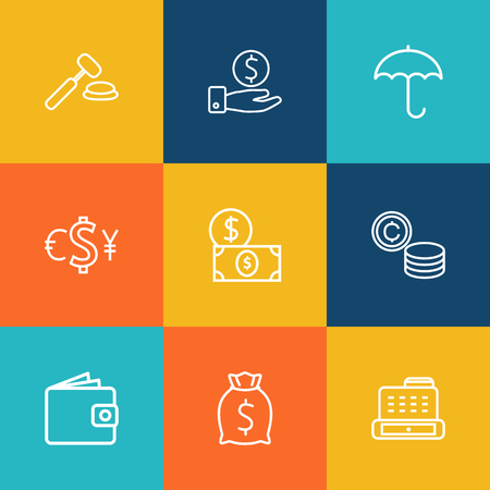 Set Of 9 Finance Outline Icons Set.Collection Of Cash Register, Auction, Dollar And Other Elements.