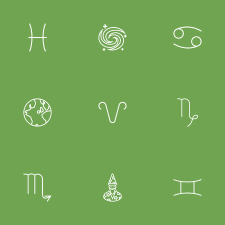 Set Of 9 Galaxy Outline Icons Set.Collection Of Galaxy, Pisces, Astrologer And Other Elements. Stock Vector - 76589473