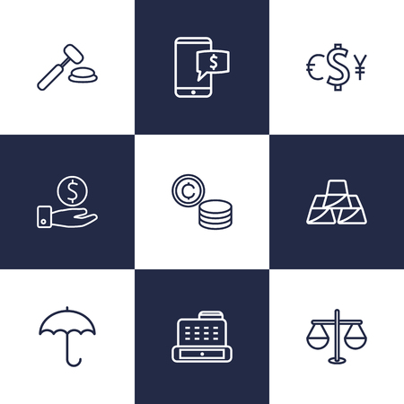 Set Of 9 Sponsor Outline Icons Set.Collection Of Exchange, Auction, Savings And Other Elements.