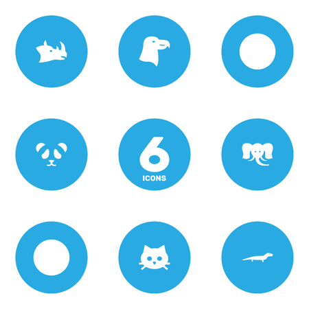 Set Of 6 Beast Icons Set.Collection Of Aquila, Gecko, Rhinoceros And Other Elements. Illustration