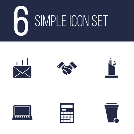 computer education: Set Of 6 Service Icons Set.Collection Of Laptop, Trash Can, Handshake Elements.