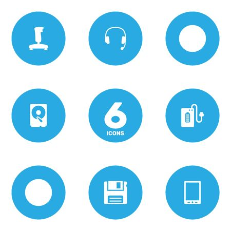 palmtop: Set Of 6 Computer Icons Set.Collection Of Palmtop, Hard Disk, Headset And Other Elements.