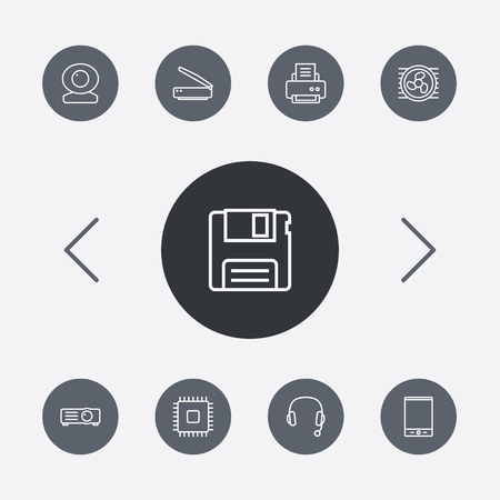 pad: Set Of 9 Laptop Outline Icons Set.Collection Of Headphone, Web Cam, Tablet And Other Elements. Illustration