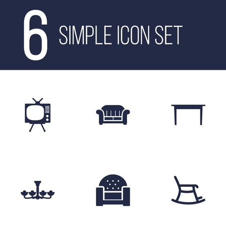 hdtv: Set Of 6 Set; Decor; Situation Icons Set.Collection Of Luster, Couch, Rocking Furniture And Other Elements. Illustration