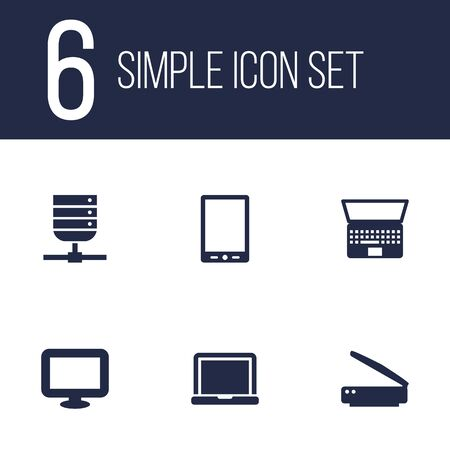 palmtop: Set Of 6 Laptop Icons Set.Collection Of Palmtop, Display, Notebook And Other Elements.