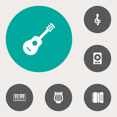 lyra: Set Of 6 Music Icons Set.Collection Of Acoustic, Octave Keyboard, Lyre And Other Elements.
