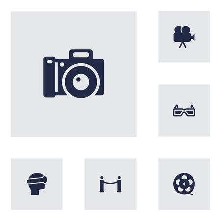 Set Of 6 Amusement Icons Set.Collection Of Filmstrip, Cyberspace, Camera And Other Elements.