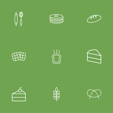Set Of 9 Cook Outline Icons Set.Collection Of Waffle, Toast, Rolling Pin And Other Elements.