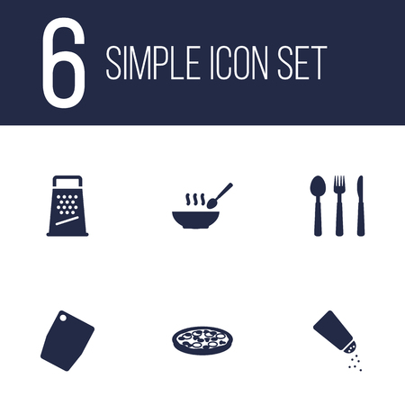 rasp: Set Of 6 Cooking Icons Set.Collection Of Broth, Pepperoni, Silverware And Other Elements. Illustration