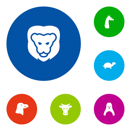 camelopard: Set Of 6 Alive Icons Set.Collection Of Tortoise, Camelopard, Wildcat And Other Elements.