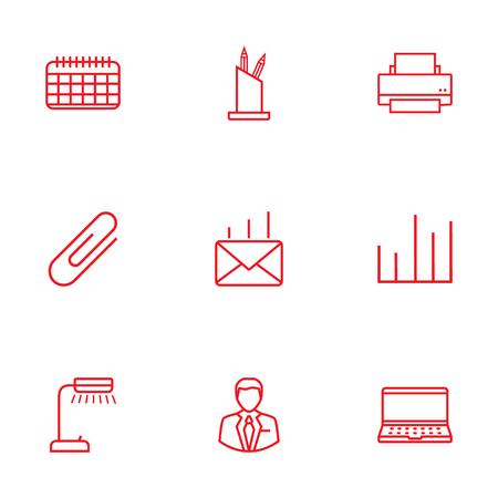 computer education: Set Of 9 Bureau Outline Icons Set.Collection Of Pen Storage, Chart, Post And Other Elements. Illustration