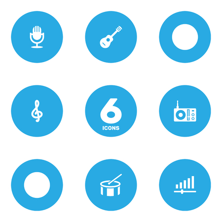Set Of 6 Melody Icons Set.Collection Of Quaver, Acoustic, Radio And Other Elements. Illustration