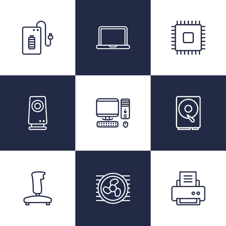 radio unit: Set Of 9 Laptop Outline Icons Set.Collection Of PC, Speaker, Gamepad And Other Elements.