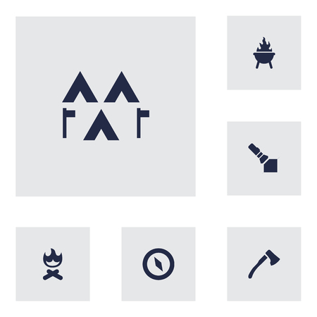 gps device: Set Of 6 Outdoor Icons Set.Collection Of Magnet Navigatior, Flashlight, Wood Axe And Other Elements.
