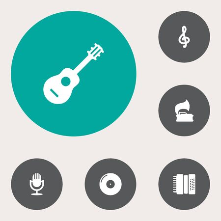 concertina: Set Of 6 Melody Icons Set.Collection Of Retro Disc, Harmonica, Karaoke And Other Elements.