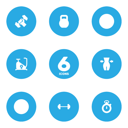 Set Of 6 Training Icons Set.Collection Of Slimming, Dumbbell, Weights And Other Elements. Illustration
