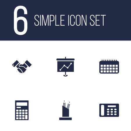 addition: Set Of 6 Bureau Icons Set.Collection Of Presentation, Pencil Stand, Calendar Elements. Illustration