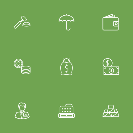 Set Of 9 Sponsor Outline Icons Set.Collection Of Moneybag, Businessman, Cash Register And Other Elements. Иллюстрация