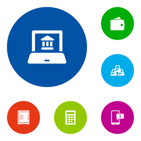 Set Of 6 Finance Icons Set.Collection Of Online Banking, Purse, Ingot And Other Elements.