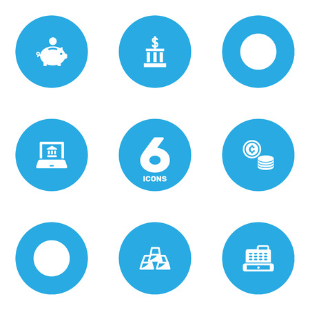 Set Of 6 Sponsor Icons Set.Collection Of Cashbox, Cash, Building And Other Elements.