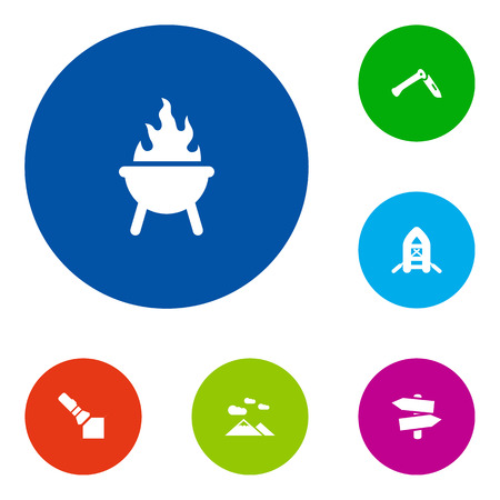 lighten: Set Of 6 Outdoor Icons Set.Collection Of Bbq, Signpost, Flashlight And Other Elements. Illustration