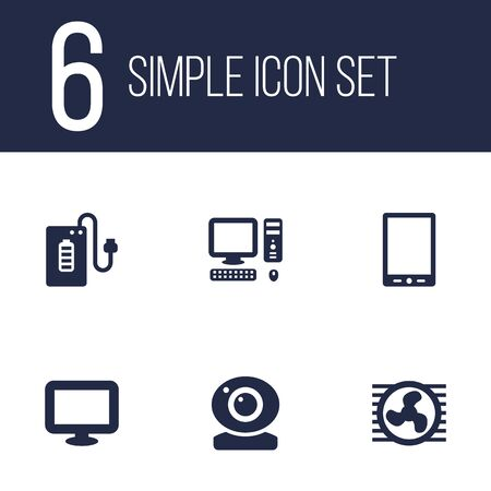 palmtop: Set Of 6 Computer Icons Set.Collection Of Computer, Supply, Palmtop And Other Elements. Illustration