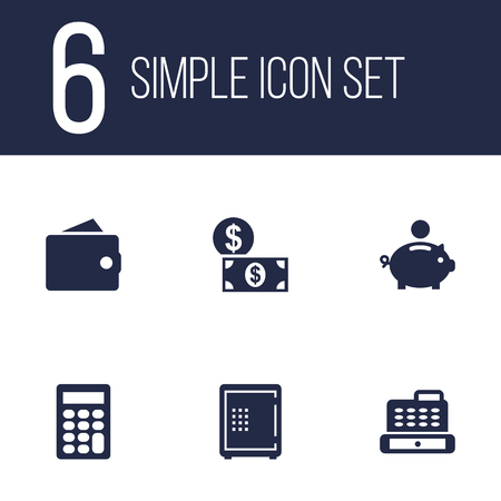 Set Of 6 Sponsor Icons Set.Collection Of Cashbox, Calculate, Purse And Other Elements.