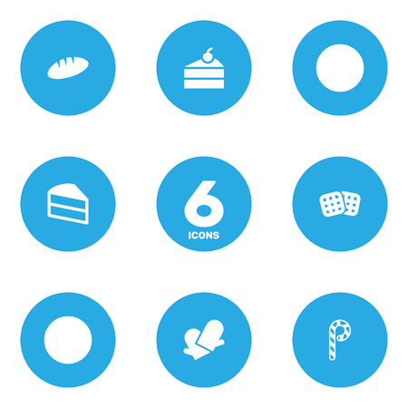 Set Of 6 Oven Icons Set.Collection Of Striped Lollipop, Loaf, Wafer And Other Elements.