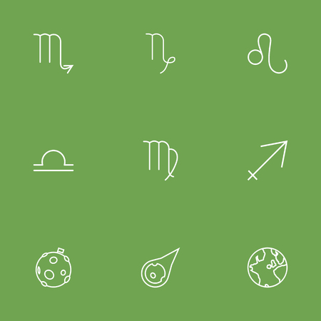 Set Of 9 Astrology Outline Icons Set.Collection Of Asteroid, Leo, Globe And Other Elements.