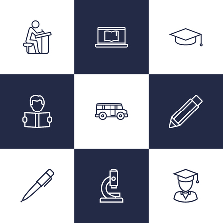 Set Of 9 Education Outline Icons Set.Collection Of Learning, Laptop, Graduation Cap And Other Elements. Illustration
