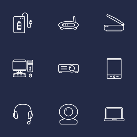 Set Of 9 Laptop Outline Icons Set.Collection Of Projector, Headphone, Web Cam And Other Elements.