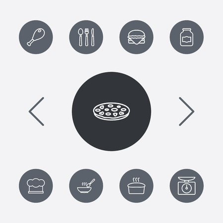 Set Of 9 Culinary Outline Icons Set.Collection Of Jug, Pizza, Soup And Other Elements.
