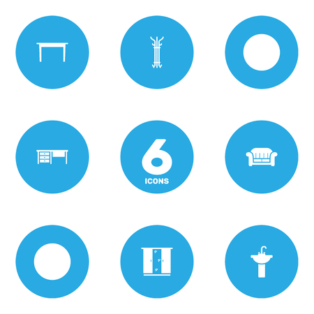 Set Of 6 Set; Decor; Situation Icons Set.Collection Of Coat Stand, Sink, Desk Elements.