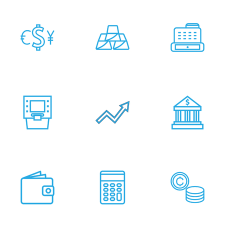 Set Of 9 Budget Outline Icons Set.Collection Of Grow Up, Cash Register, Atm And Other Elements. Иллюстрация