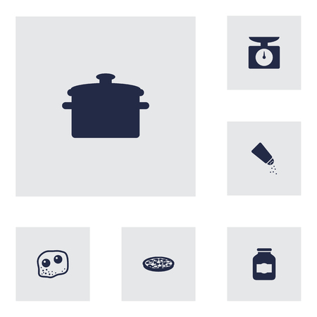 scale icon: Set Of 6 Culinary Icons Set.Collection Of Weighing Machine, Saltshaker, Pepperoni And Other Elements.