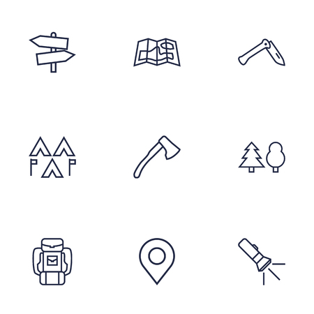 Set Of 9 Adventure Outline Icons Set.Collection Of Guidepost, Pocket Torch, Encampment And Other Elements. Stock Vector - 76772228