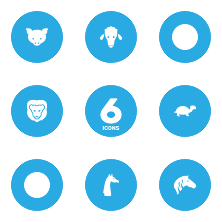 Set Of 6 Beast Icons Set.Collection Of Lamb, Horse, Hog And Other Elements.