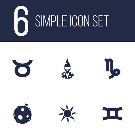 Set Of 6 Astronomy Icons Set.Collection Of Augur, Twins, Lunar And Other Elements.