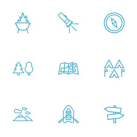 Set Of 9 Picnic Outline Icons Set.Collection Of Rubber Boat, Gps, Forest And Other Elements. Illustration