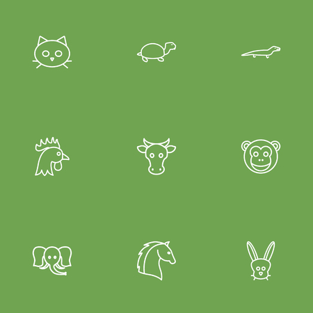 kine: Set Of 9 Beast Outline Icons Set.Collection Of Elephant, Horse, Turtle And Other Elements. Illustration