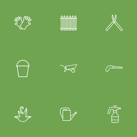 Set Of 9 Horticulture Outline Icons Set. Collection Of Pail, Arm-Cutter, Palisade And Other Elements.
