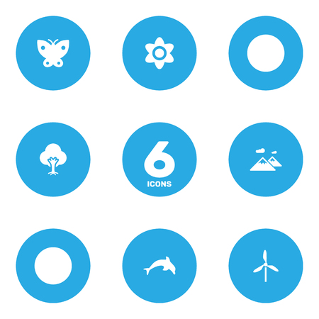 Set Of 6 Environment Icons Set. Collection Of Bloom, Tree, flower And Other Elements.