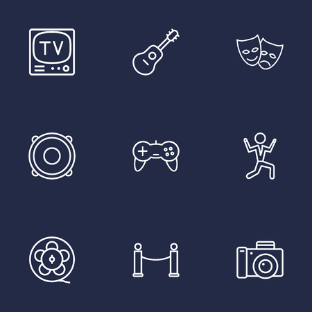 Set Of 9 Entertainment Outline Icons Set. Collection Of Barrier Rope, Masks, Game Controller And Other Elements.