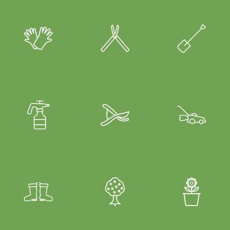 safer: Set Of 9 Farm Outline Icons Set. Collection Of Garden, Safer Of Hand , Secateurs Elements.
