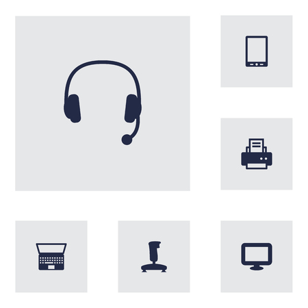 palmtop: Set Of 6 Laptop Icons Set. Collection Of Notebook, Palmtop, Joystick And Other Elements.